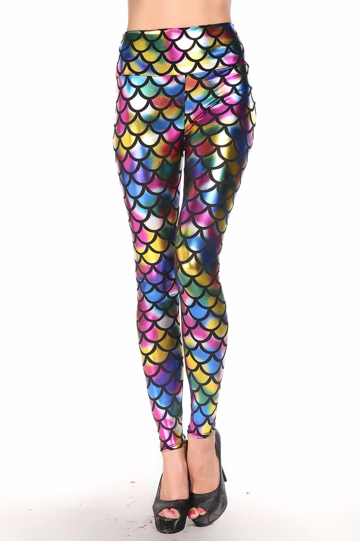 Metallic leggings med hög midja i flera färger