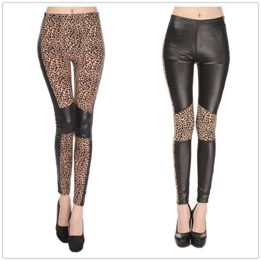 Wetlook leggings i svart leopard