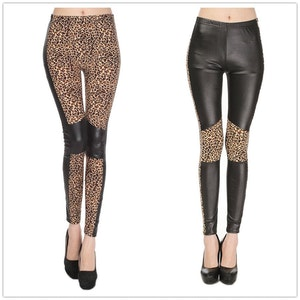 Wetlook leggings i svart leopard