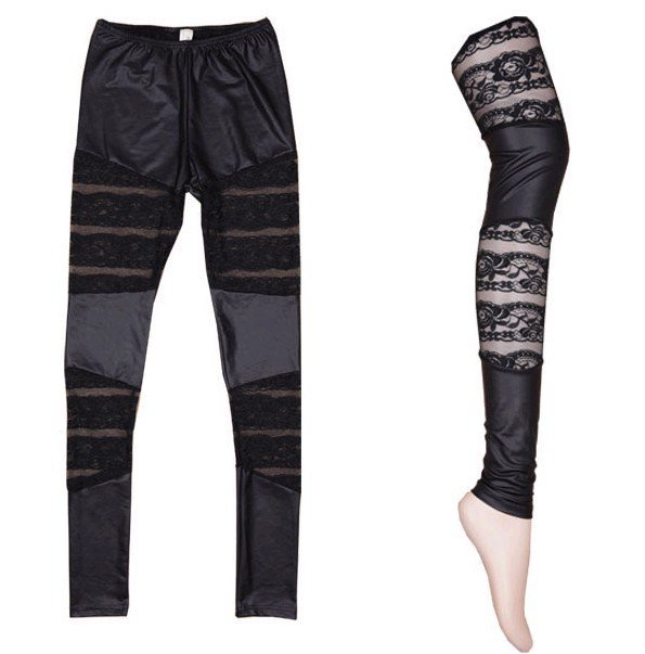 Wetlook leggings med mesh