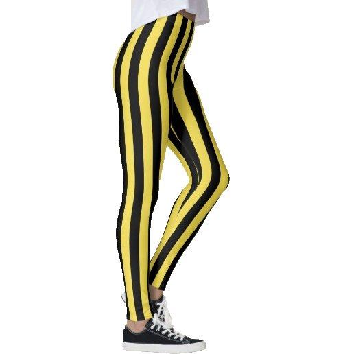 Randiga leggings i svart och gult