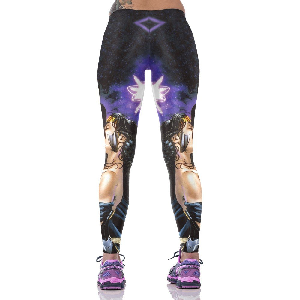 Bat Man Kiss Wonder Woman leggings