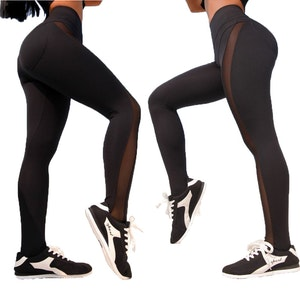 Svarta Leggings med mesh