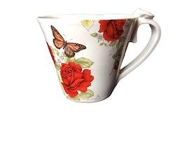 Handgjord fjärilskopp i keramik