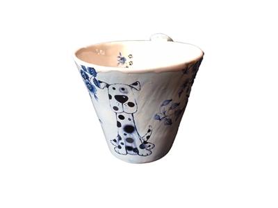 Keramikkopp med hund