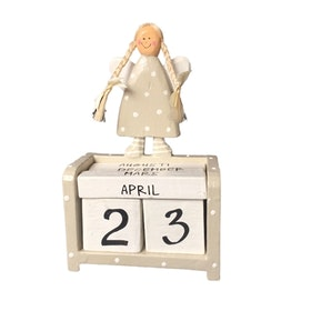 Datumkalender Ängel grå