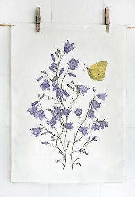 Linnehandduk blåklocka och fjäril