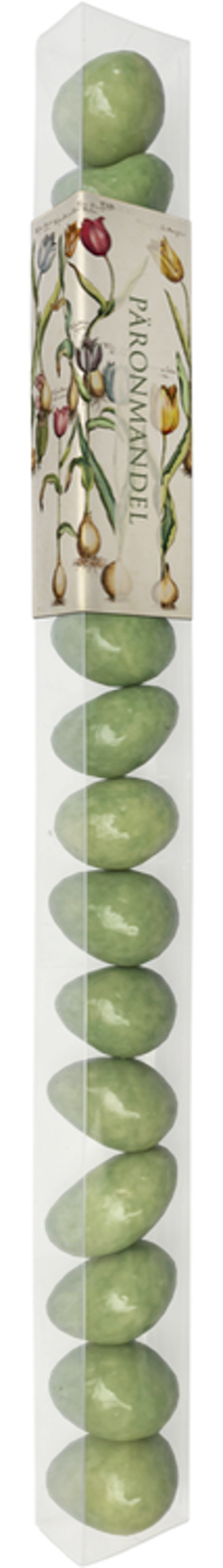 Mandlar med överdrag av chokald med smak av päron.