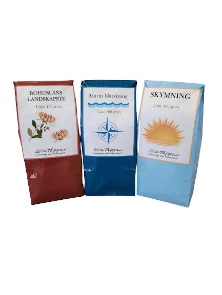 Gott doftande och smakrikt te i trepack.
