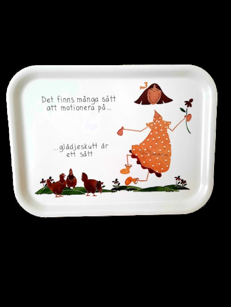 Lilla Täppan bricka med citat om motion.