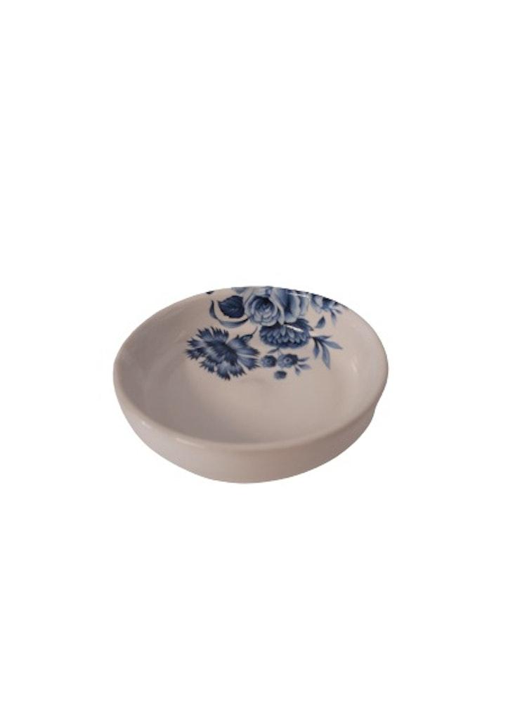 Lilla täppan handdrejad keramikskål med blommor