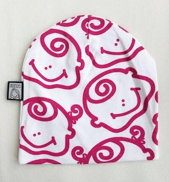 Mössa, rosa-vit, strlk 6-12 mån
