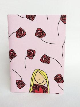 Skrivbok, a6 linjerad, Rosa