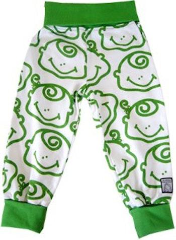 Byxa mönstrad, grön/vit, strl 74-80