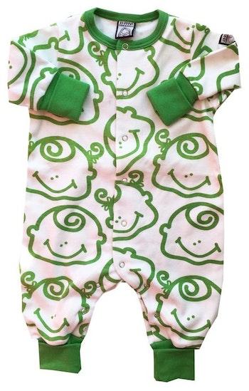 Pyjamas, grön-vit, strl 50-56