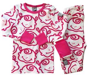 2-delad pyjamas, rosa-vit, strl 86-92