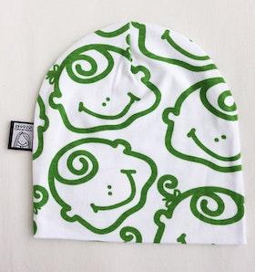 Mössa, grön-vit, strlk 6-12 mån