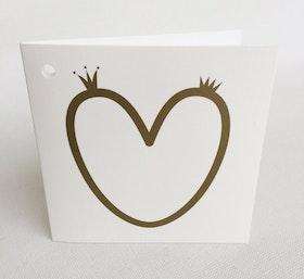 Litet kvadratiskt kort - hjärta med kronor