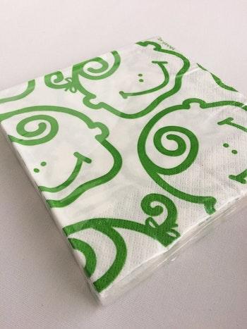 Servetter - vit/grön