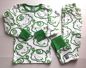 2-delad pyjamas, grön-vit, strl 86-92