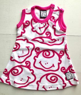 Klänning, rosa-vit, strl 50-56