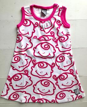 Klänning, rosa-vit, strl 74-80