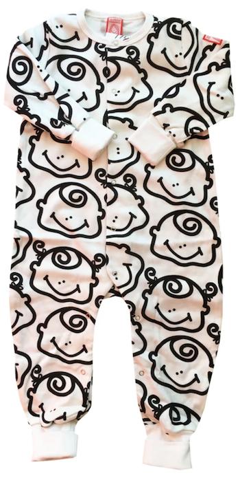 Pyjamas, svart-vit, strl 74-80