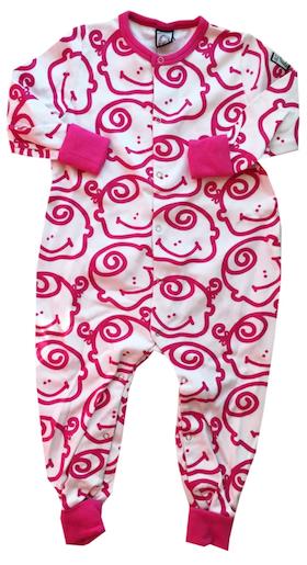 Pyjamas, rosa-vit, strl 74-80
