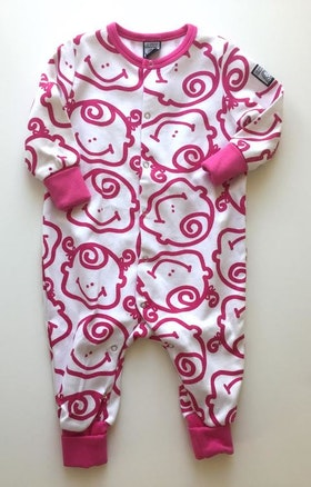 Pyjamas, rosa-vit, strl 62-68