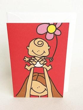 Litet kort med kuvert - Mamma o baby