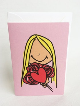 Litet kort med kuvert - Rosa