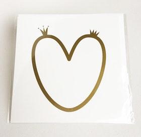 Kvadratiskt kort med kuvert - Hjärta med kronor