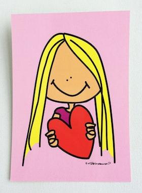 Vykort - Flicka med hjärta