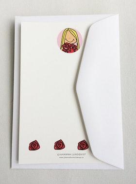 Brevkort med kuvert - Flicka med rosor
