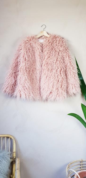 H&M rosa fluffig jacka storlek XS