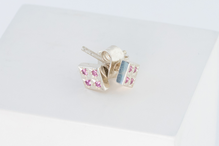 Freja örhänge vitguld - rosa safir