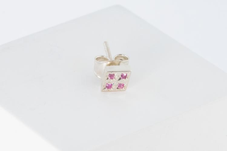 Freja örhänge silver - rosa safir