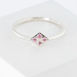 Freja ring silver - rosa safir