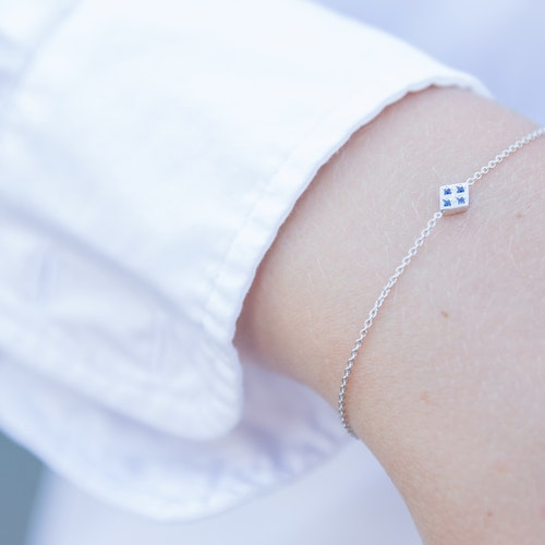 Freja armband silver - blå safir