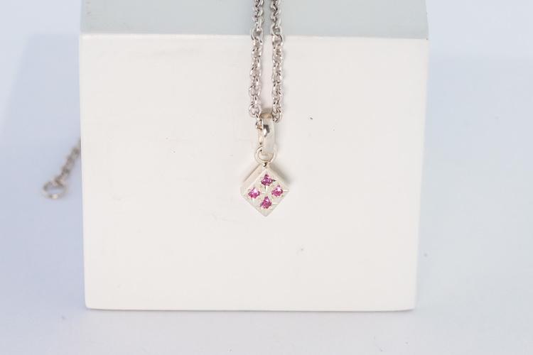 Freja hängsmycke silver - rosa safir