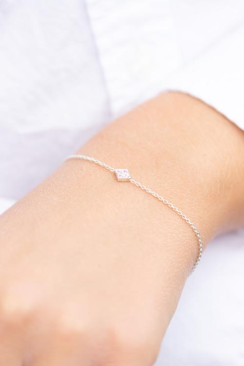 Freja armband silver - rosa safir