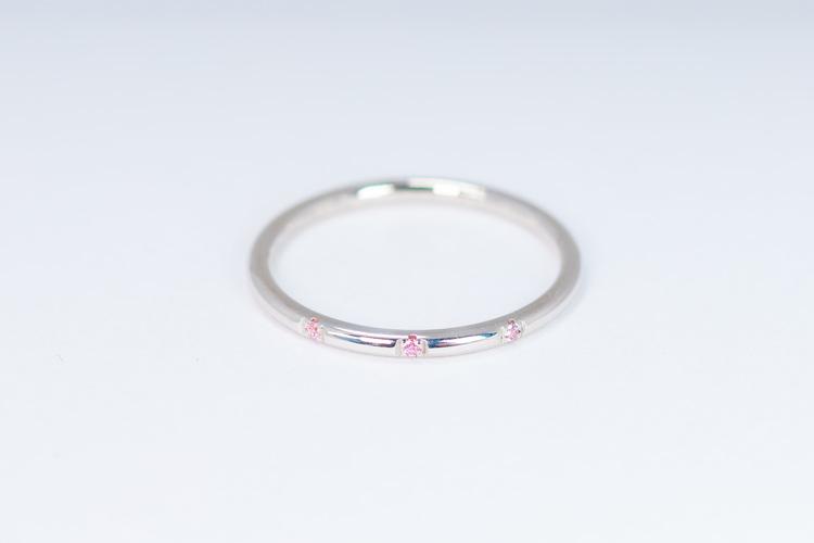 Signe ring silver - rosa safir