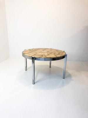 Soffbord 70-tal krom och marmor