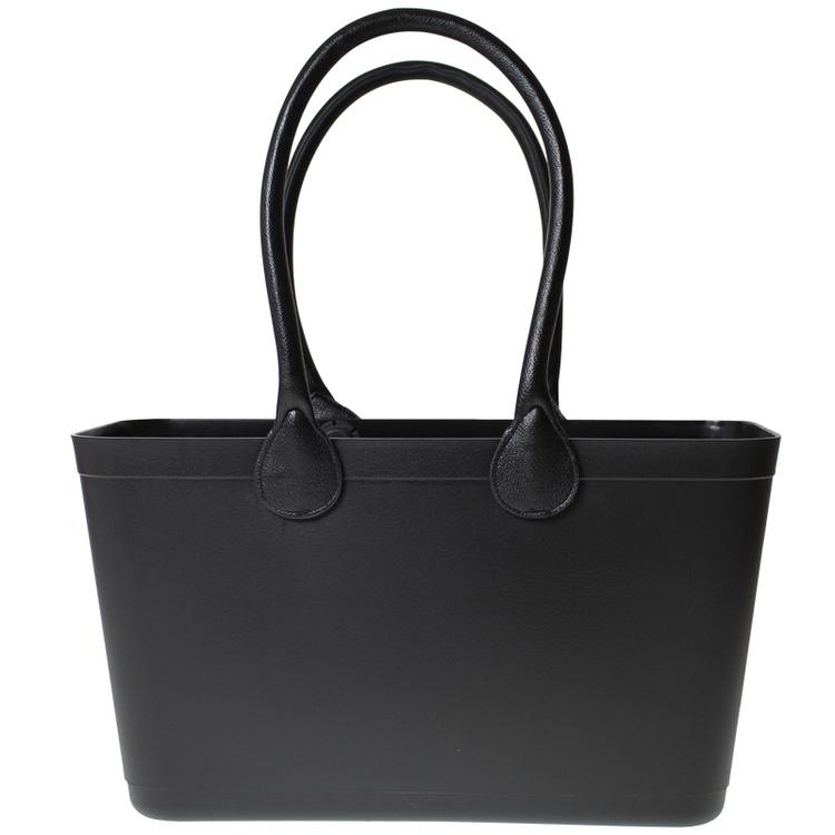 Stor Sweden Bag - Svart väska med långa läderhandtag 55101-1