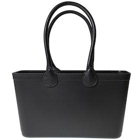 Stor Sweden Bag - Svart väska med långa läderhandtag