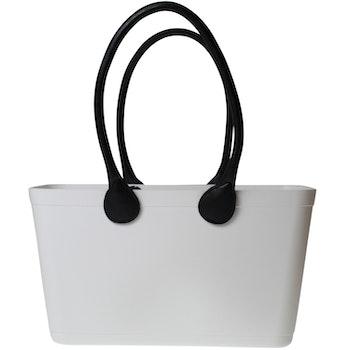 Stor Sweden Bag - Vit väska med långa läderhandtag