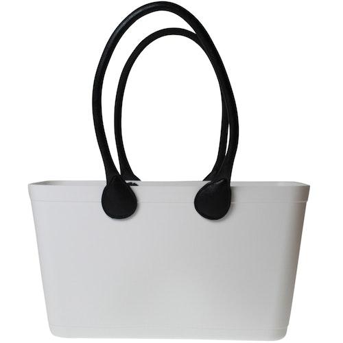 Stor Sweden Bag - Vit väska med långa läderhandtag 55108-1