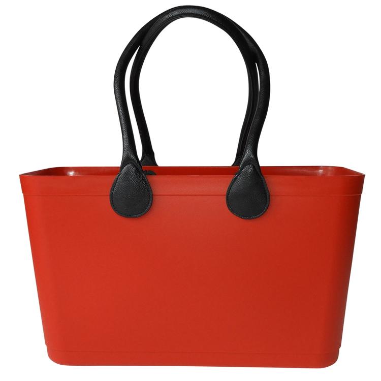 Stor Sweden Bag - Röd väska med långa läderhandtag 55102-1