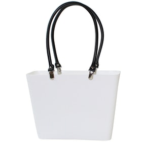 Väska Vit Liten med svarta läderhandtag