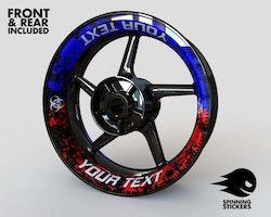 Your Text Biohazard Wheel Stickers kit - Premium Design